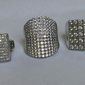 5 Sterling Silver with Cubic Zirconia Blingy Rings